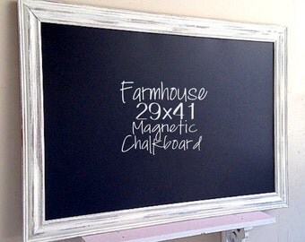 Farmhouse Kitchen Decor FRAMED CHALK BOARD White Distressed Decor Rustic Chalkboard Shabby Chic Chalkboard White Wash Barnwood Wall Decor