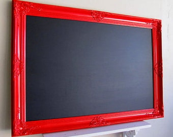 LARGE MAGNETIC CHALKBOARD Framed Blackboard Red Kitchen Chalkboard Modern Kitchen Message Center Black Board Kids Artwork Magnet Board