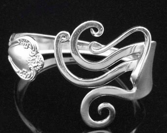 Silver Fork Bracelet in Abstract Design Number One