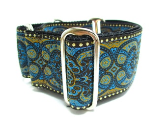 """Houndstown 2"""" Teal Castelli Houndstown Buckle or Martingale Collar, Any Size"""