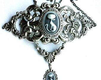 Cute Victorian choker with double cat's cameos Filigree gothic necklace