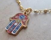 Sale Hamsa Mazal Enamel Charm Bracelet