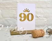 90 Papercut Card/90th Birthday/Ninetieth/Age Cut Out Card/Golden/Anniversary/Metallic/Gold/Mum From Daughter/From Son/To Grandad/Gran/Nan