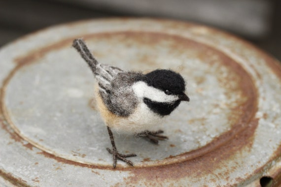 Needle felted Chickadee, life size bird, made to order