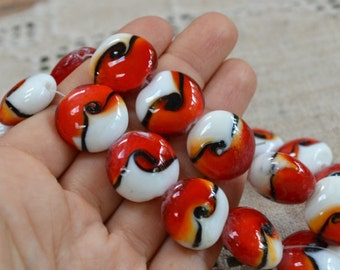 20pcs 20mm Lampworked Glass Beads Red Black White Swirls Flat Coin Round 16in