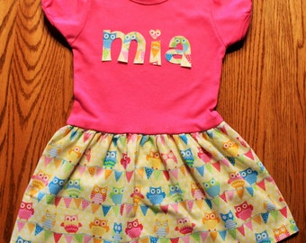 Personalized Toddler T-Shirt Dress-pink, teal, yellow, green, orange, owls, short sleeve party dress, unique toddler boutique style dress