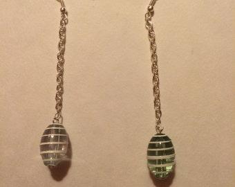 Earrings; hook earrings; glass bead earrings; chain drop earrings