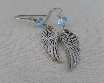 Angel Wing Earrings, Blue Swarovski Crystals, Dangly Earrings, Gift for Her