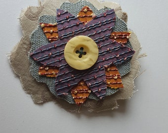Flower Hair Clip Accessory Handmade with Upcycled Fabric