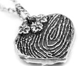 Finger Print Jewelry Double Sided with Actual Fingerprint Engraved and Handwriting