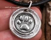 Custom Sterling Silver Paw Print Wax Seal Monogram Pendant for Pet Lovers- Memorial Jewelry- Wax Seal with Rustic Feel- OOAK