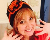 Knit Headband Earwarmer with Flower