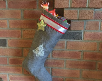 Grey linen Christmas stocking embroidered silver Scandanavian Nordic Christmas tree modern elegant heirloom housewarming couples gift
