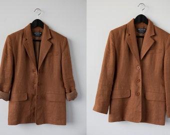 Vintage Copper LINEN Blazer Boxy Jacket 80s 90s Classic Oversized Boyfriend Brown Rust Terra Cotta M