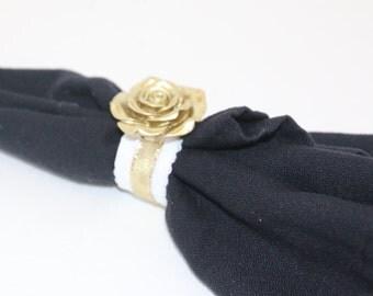 Roses Gold Napkin Rings Set of 8