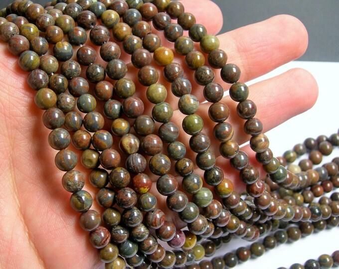 Wealth stone Jasper - 6 mm round beads -1 full strand - 63 beads - A quality - RFG771