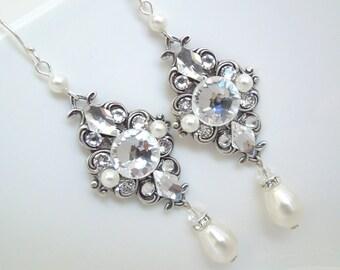 Bridal Earrings Pearl Earrings Chandelier Earrings Vintage Style Earrings Swarovski Crystal and Pearl Earrings rhinestone earrings GIULIANA
