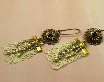Lace Earrings, Long Filigree, Roses