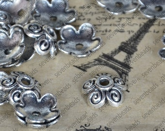 50 pcs of 10mm Antique silver  bead cap findings,findings beads,bracelet findings,necklace findings