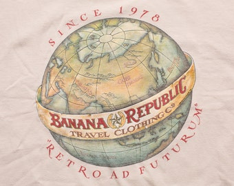 Banana Republic World Globe Retro Ad Futurum T-Shirt, Vintage 1988