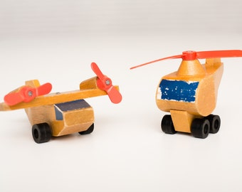 Mattel Wooden Airplane & Helicopter Toys, Made in Korea, Vintage 70s