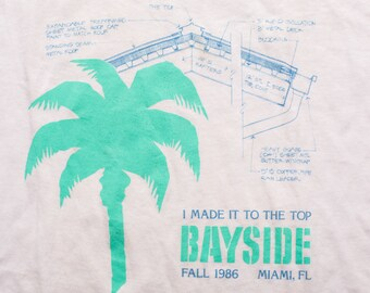 """1986 Bayside Miami FL T-Shirt, """"I Made It to the Top"""" Tee, Vintage 1980s"""