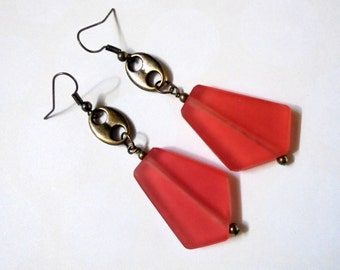 Strawberry Red and Brass Ethnic Earrings (2866)