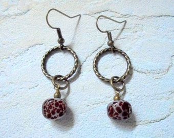 Spotted Maroon and Brass Lampwork Earrings (3045)