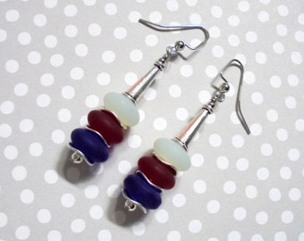 Red, White and Blue Seaglass Earrings (2745)