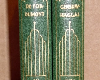 Antique Vintage 1931 Funk & Wagnalls New Standard Encyclopedia Volumes Hardback Books 2 Pcs