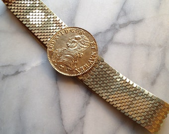70s Gold Metal Fish Scale Belt with King Louis XVI French Medallion