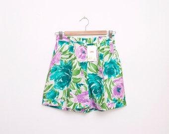 Dead stock 90s Vintage Shorts floral high waist