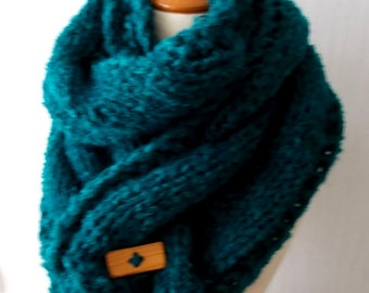 Handknit Chunky Scarf Big Cowl Extra Thick Cabled in Green Teal  Wool Mohair Winter Accessory