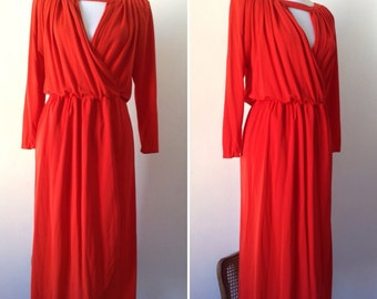 70s French grecian godess pleated red dress