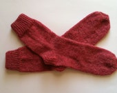 Hand Knit Soft And Warm Men's Alpaca Socks, Size 11 - 11.5 (11 inches length) - Warm Socks, Hand Made Socks, Knit Socks - Color Berry