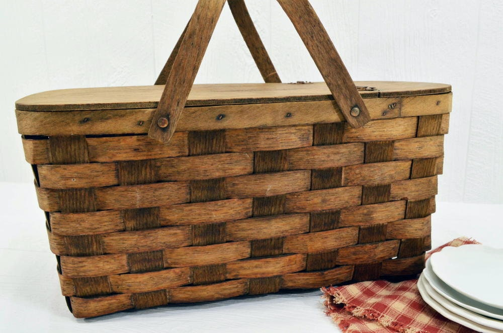 Woven Basket With Hinged Lid : Vintage woven wood picnic basket hinged lid and swivel