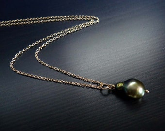 Army Green Pearl Necklace, Baroque Pearl, June Birthstone, Freshwater Pearl,  14kt Gold Filled
