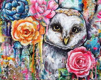 White Owl Original Acrylic Painting 11x14 Inches Bright Colorful New Contemporary Art Happy Bright Harry Potter Girls Room Shabby Chic