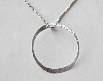 Hammered Silver Pendant, Circle Pendant, Sterling Silver Circle Jewelry, Modernist Necklace