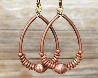 Hoop Earrings with Antiqued Copper and Ethiopian Copper Accents