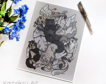 Kitty Pile | Flying Winged Cats | Fantasy Illustration | Art Print | 8.5x11