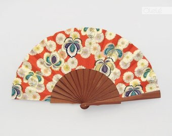 Japanese Chrysanthemum | Wedding fans gift | persimmon white | romantic gift