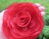 RED Wedding Hair Flower, Red Organza Hair Flower, Red Bridal Hair Accessory, Red Bridal Accessories, Red Hair Clip, Red Flower Girl Hair