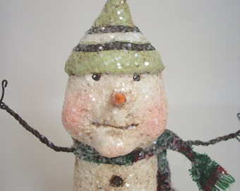 Primitive Paper Mache Folk Art Snowman