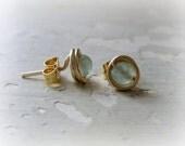 Sea Green Studs, Wire Wrap Posts, Stone Stud Earrings, Gold Stud Earrings, Light Green Studs, Gold Filled Studs, Light Green Posts
