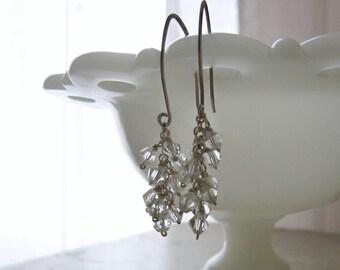 Crystal Earrings, Sterling Earrings, Wire Wrapped Dangles, Swarovski Earrings, Cluster Earrings, Clear Crystal Earrings, Bridal Earrings