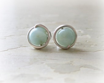 Sterling Post Earrings, Amazonite Stud Earrings, Aqua Earrings, Aqua Post Earrings, Gemstone Studs, Natural Stone Studs, Amazonite Posts