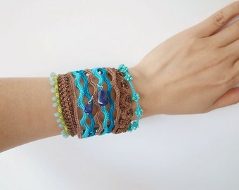 Crochet Lace Jewelry (Boho Chic 2-a) Fiber Art Jewelry, Wide Bracelet, Crochet Bracelet, Gemstone