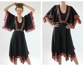 60s Scarf Dress- Flowy Hippie Festival Dress, 70s Stevie Nicks Witchy Hipster Coachella Black Gypsy Free People Style Vintage LOT 2