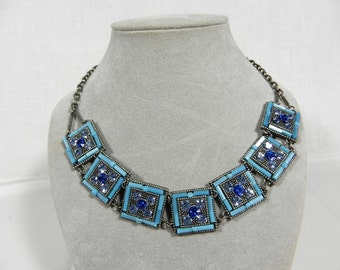 Necklace, Blue Glass Beads, Blue Rhinestones in Squares, Pewter Color Metal